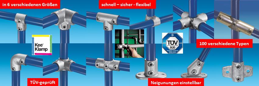 Kee Klamp Rohrverbinder gibt es in 100 verschiedenen Typen und 6 Größen