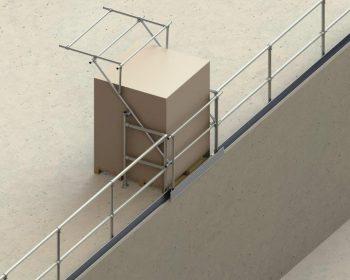Kee Safety Palettenschleuse mit Geländer oben offen mit Ware