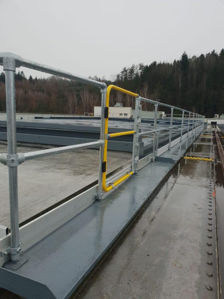 Kee Klamp im Wasserkraftwerk hier Montageplatz-Sicherung mit Kee Gate